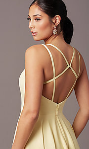 Image of open-back long formal satin prom dress by PromGirl. Style: PG-F2002 Detail Image 1