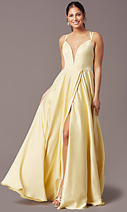 Image of open-back long formal satin prom dress by PromGirl. Style: PG-F2002 Detail Image 2