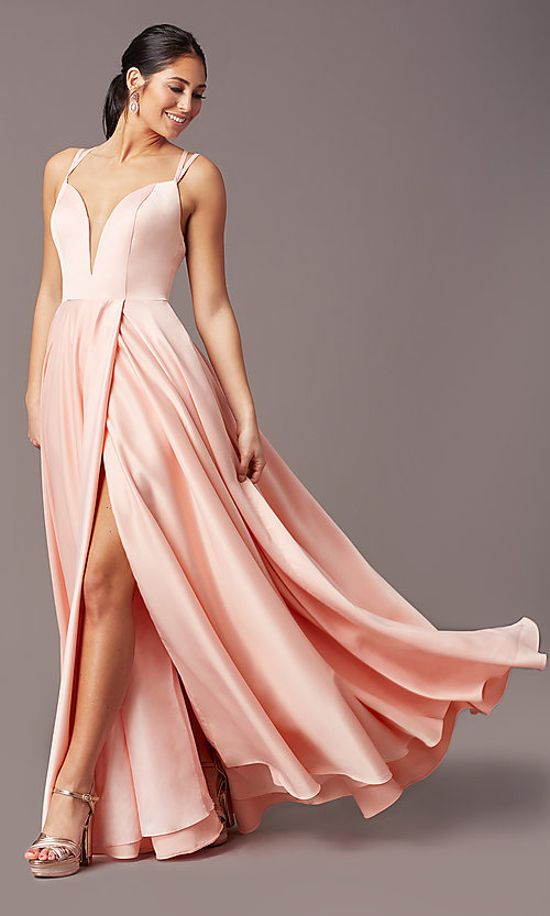 Image of open-back long formal satin prom dress by PromGirl. Style: PG-F2002 Detail Image 3