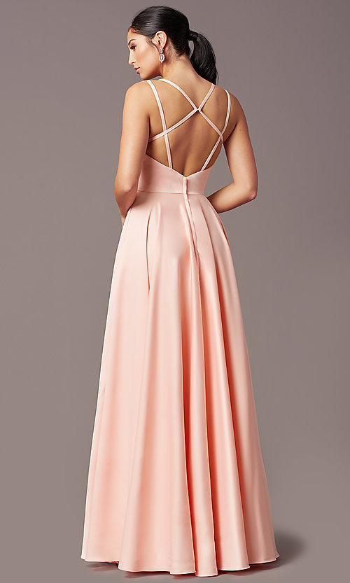 Image of open-back long formal satin prom dress by PromGirl. Style: PG-F2002 Detail Image 4