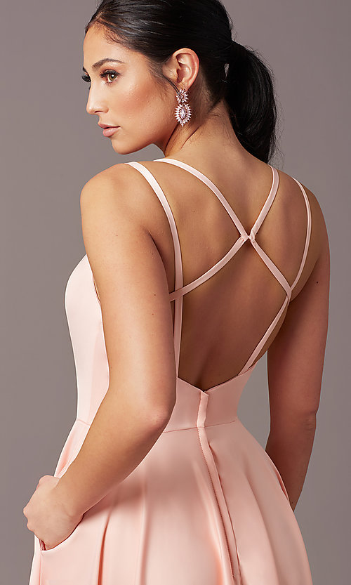 Image of open-back long formal satin prom dress by PromGirl. Style: PG-F2002 Detail Image 5