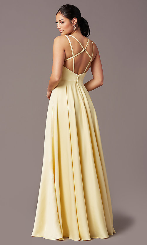 Image of open-back long formal satin prom dress by PromGirl. Style: PG-F2002 Back Image