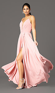 Image of v-neck pleated-bodice long prom dress by PromGirl. Style: PG-F2003 Detail Image 6