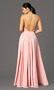 Image of v-neck pleated-bodice long prom dress by PromGirl. Style: PG-F2003 Detail Image 7