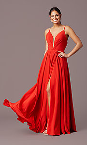 Image of v-neck pleated-bodice long prom dress by PromGirl. Style: PG-F2003 Detail Image 3
