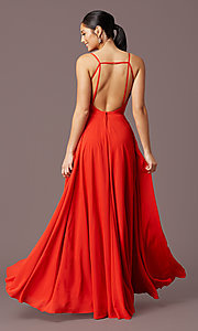 Image of v-neck pleated-bodice long prom dress by PromGirl. Style: PG-F2003 Detail Image 4