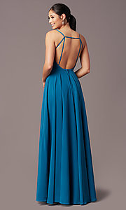 Image of v-neck pleated-bodice long prom dress by PromGirl. Style: PG-F2003 Back Image