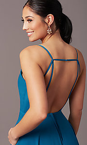 Image of v-neck pleated-bodice long prom dress by PromGirl. Style: PG-F2003 Detail Image 1