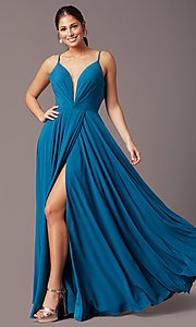 Image of v-neck pleated-bodice long prom dress by PromGirl. Style: PG-F2003 Detail Image 2