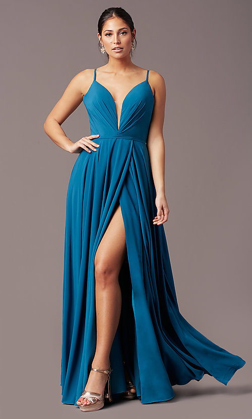 Image of v-neck pleated-bodice long prom dress by PromGirl. Style: PG-F2003 Front Image