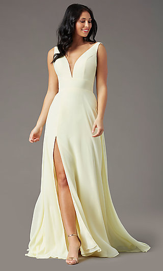 PromGirl V-Back Long Formal Prom Dress with Train