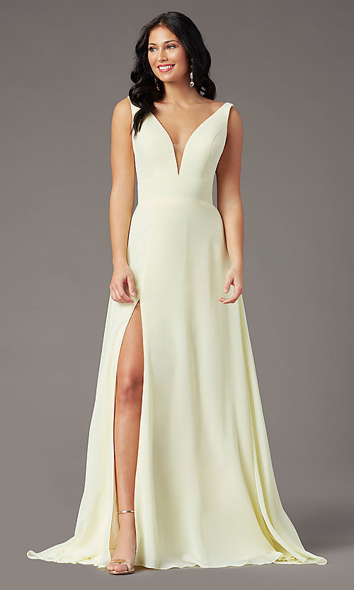 Image of PromGirl v-back long formal prom dress with train. Style: PG-F2008 Detail Image 6