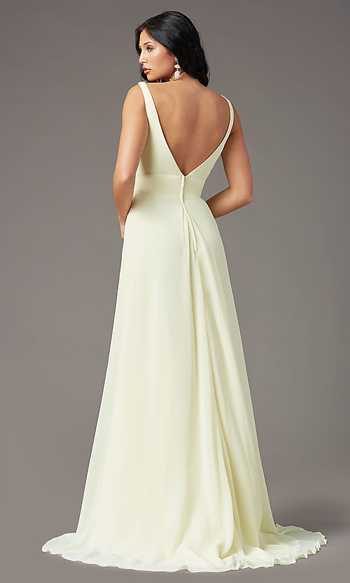 Image of PromGirl v-back long formal prom dress with train. Style: PG-F2008 Detail Image 4