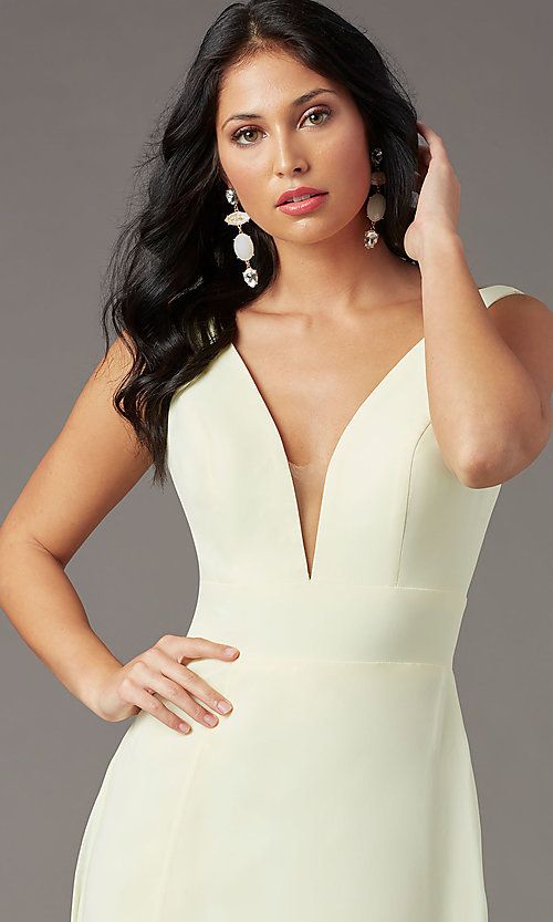 Image of PromGirl v-back long formal prom dress with train. Style: PG-F2008 Detail Image 5