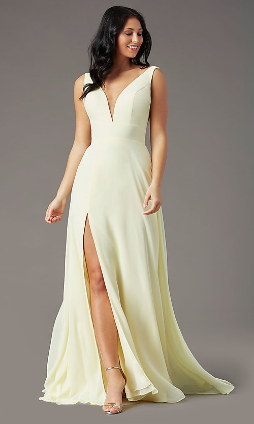 Image of PromGirl v-back long formal prom dress with train. Style: PG-F2008 Detail Image 3
