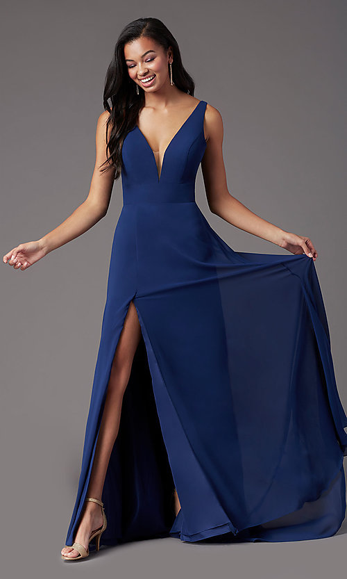 Image of PromGirl v-back long formal prom dress with train. Style: PG-F2008 Detail Image 1