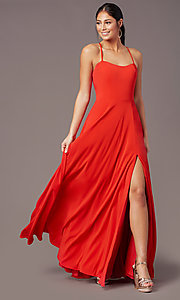 Image of long sweetheart chiffon prom dress by PromGirl. Style: PG-F2011 Detail Image 7