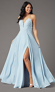 Image of v-neck open-back long prom dress by PromGirl. Style: PG-F2013 Front Image