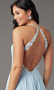 Image of v-neck open-back long prom dress by PromGirl. Style: PG-F2013 Detail Image 1