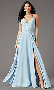 Image of v-neck open-back long prom dress by PromGirl. Style: PG-F2013 Detail Image 2