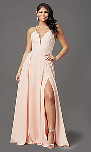 Image of v-neck open-back long prom dress by PromGirl. Style: PG-F2013 Detail Image 3