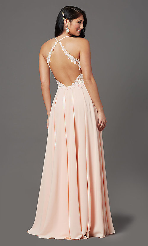 Image of v-neck open-back long prom dress by PromGirl. Style: PG-F2013 Detail Image 4