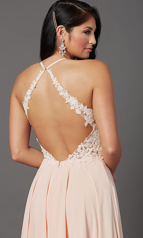 Image of v-neck open-back long prom dress by PromGirl. Style: PG-F2013 Detail Image 5