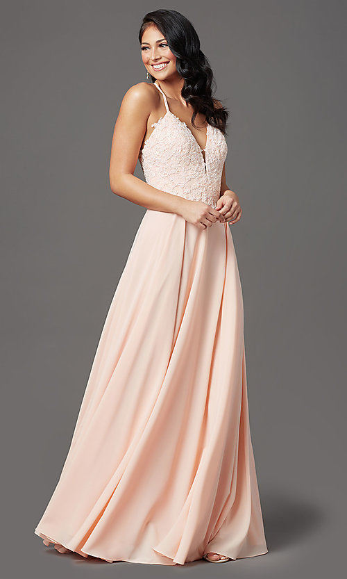 Image of v-neck open-back long prom dress by PromGirl. Style: PG-F2013 Detail Image 6