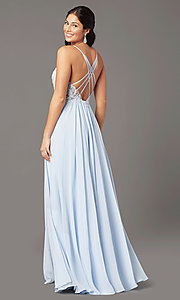 Image of PromGirl long prom dress with double-slit skirt. Style: PG-F2014 Back Image