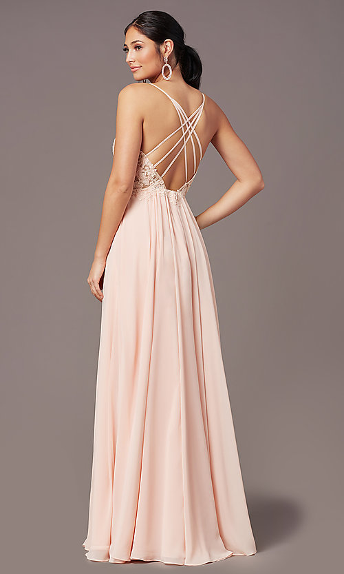 Image of PromGirl long prom dress with double-slit skirt. Style: PG-F2014 Detail Image 8