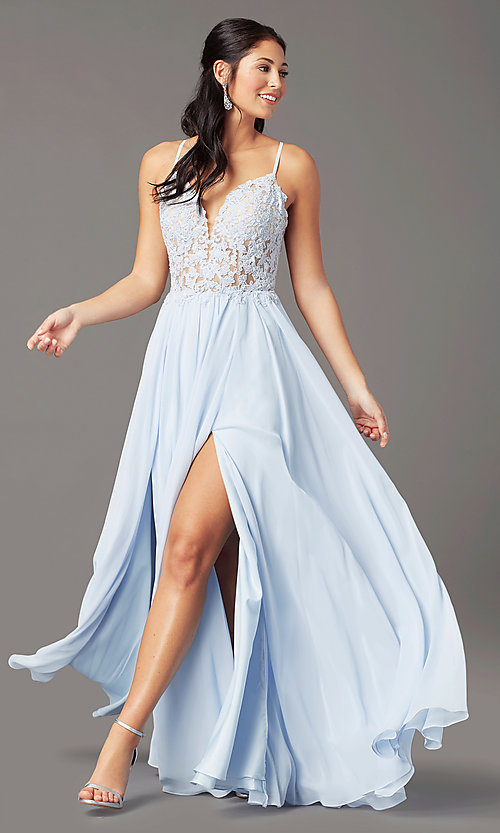 Image of PromGirl long prom dress with double-slit skirt. Style: PG-F2014 Detail Image 2
