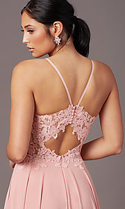 Image of PromGirl formal prom dress with embroidered bodice. Style: PG-F2015 Detail Image 2