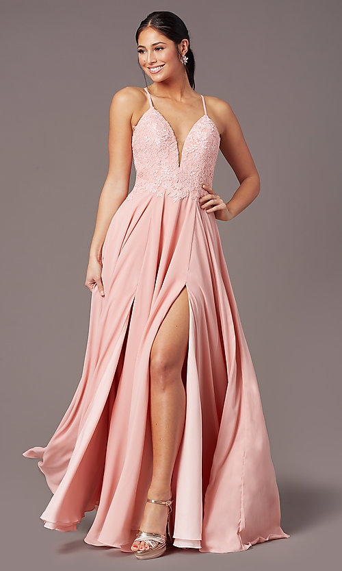 Image of PromGirl formal prom dress with embroidered bodice. Style: PG-F2015 Front Image