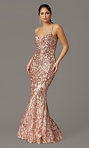 Image of long sequin open-back prom dress by PromGirl. Style: PG-F2021 Front Image