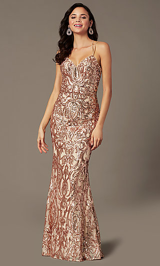 Long Sequin Open Back Prom Dress by PromGirl