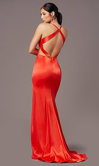 Strappy-Open-Back Long Prom Dress by PromGirl