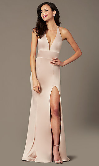 PromGirl Long V-Neck Prom Dress with Side Cut Outs