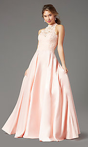 Image of high-neck long a-line prom dress by PromGirl. Style: PG-F2033 Detail Image 6