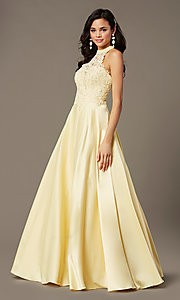 Image of high-neck long a-line prom dress by PromGirl. Style: PG-F2033 Detail Image 2
