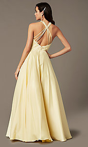 Image of high-neck long a-line prom dress by PromGirl. Style: PG-F2033 Detail Image 3