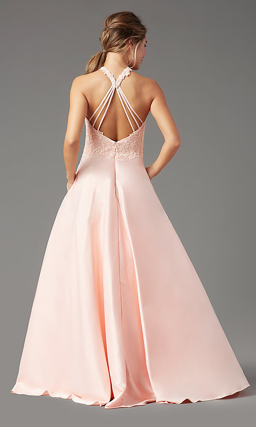 Image of high-neck long a-line prom dress by PromGirl. Style: PG-F2033 Detail Image 7