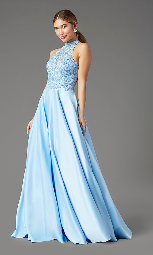 Image of high-neck long a-line prom dress by PromGirl. Style: PG-F2033 Front Image
