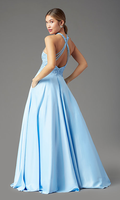 Image of high-neck long a-line prom dress by PromGirl. Style: PG-F2033 Back Image