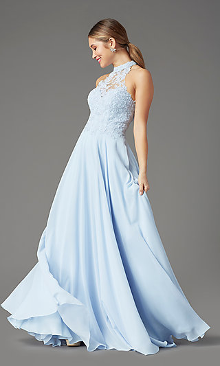 High-Neck PromGirl Prom Dress with Pockets