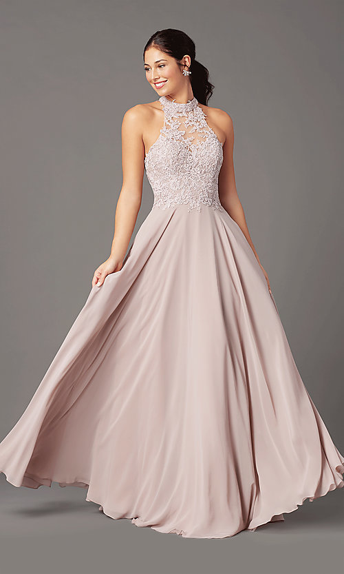 Image of high-neck PromGirl prom dress with pockets. Style: PG-F2034 Front Image