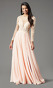 Image of long-sleeve chiffon illusion prom dress by PromGirl. Style: PG-F2037 Detail Image 3