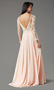 Image of long-sleeve chiffon illusion prom dress by PromGirl. Style: PG-F2037 Detail Image 4