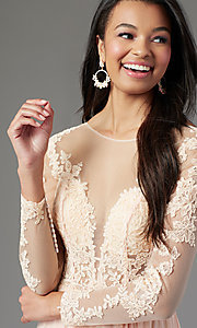 Image of long-sleeve chiffon illusion prom dress by PromGirl. Style: PG-F2037 Detail Image 5