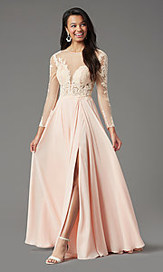 Image of long-sleeve chiffon illusion prom dress by PromGirl. Style: PG-F2037 Detail Image 6