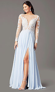 Image of long-sleeve chiffon illusion prom dress by PromGirl. Style: PG-F2037 Detail Image 1